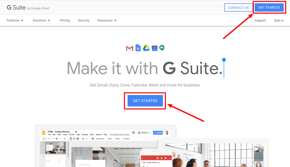 Create account to set up g suite