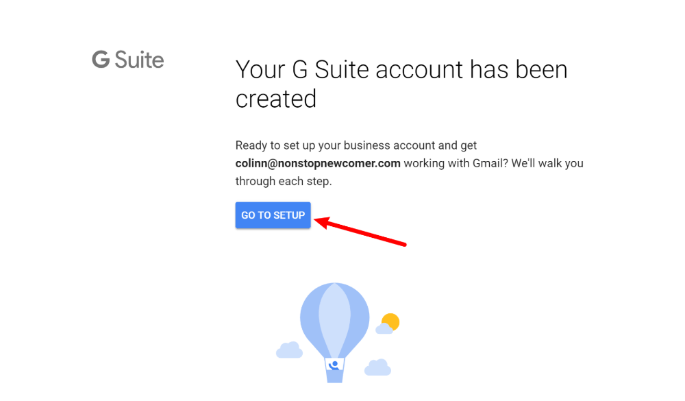 Go to G Suite setup