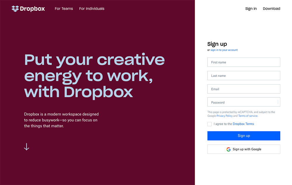 Dropbox social login