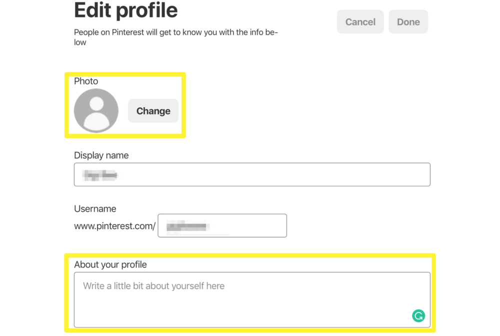 The Pinterest profile settings page.