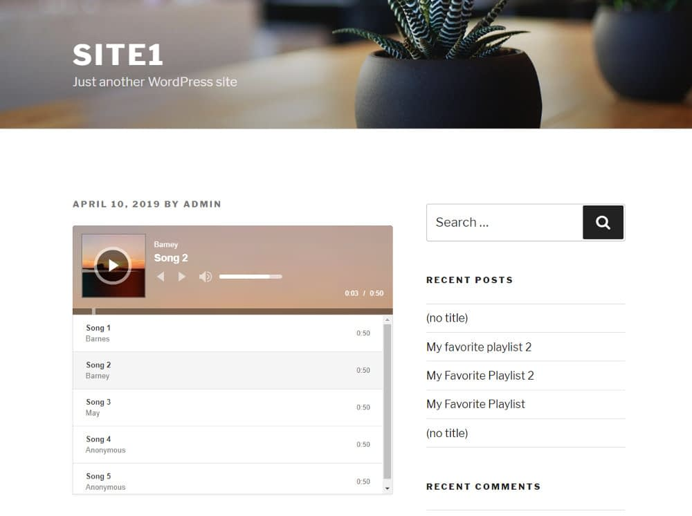 WordPress audio player plugins : Cue - frontend