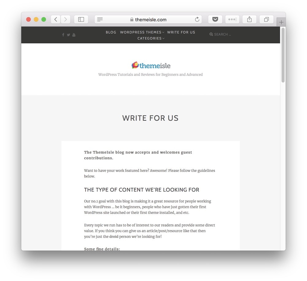 ThemeIsle to accept guest posts