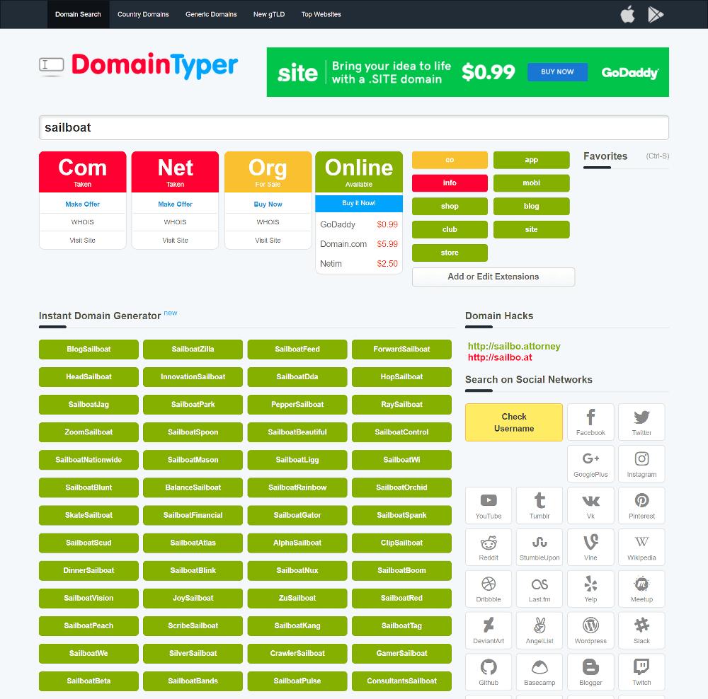 Générateur de noms de domaine