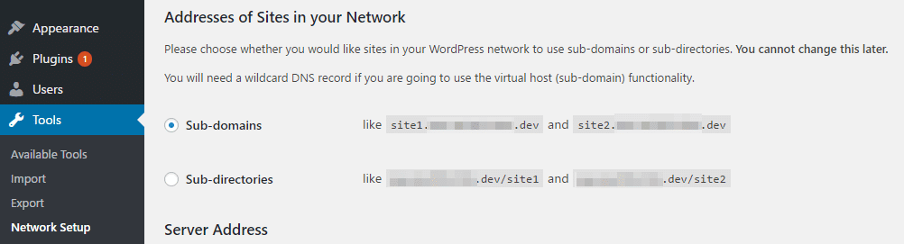 Picking a URL structure for your Multisite network.
