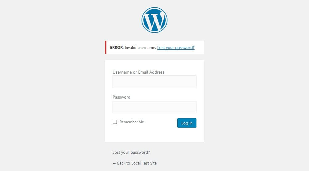 WordPress standard login error message