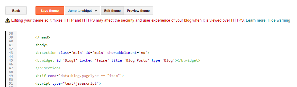 Adding your redirection code to Blogger.