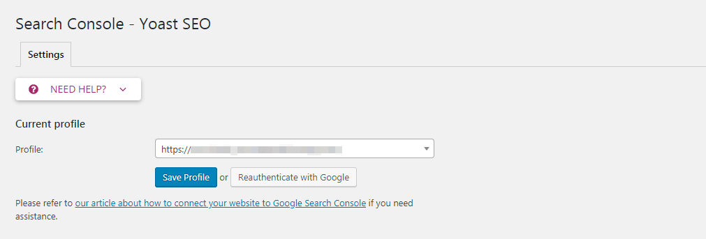 Adding a Google profile in Yoast SEO.