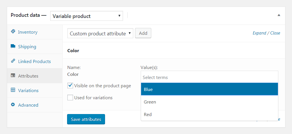 Configuring WooCommerce attributes.