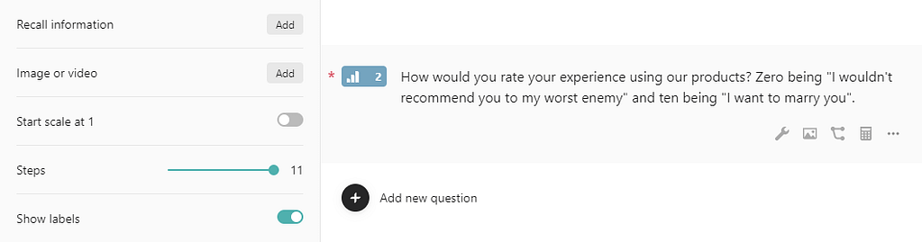 Adding a satisfaction scale to your form.