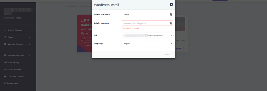 Installing WordPress on 000webhost.