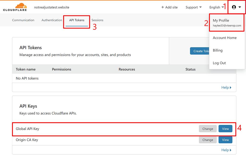 Comment trouver la clé de l'API Cloudflare pour WordPress