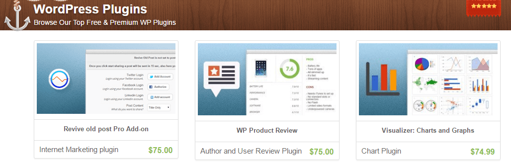 Example of how to sell digital files using WordPress: the ThemeIsle plugin store.