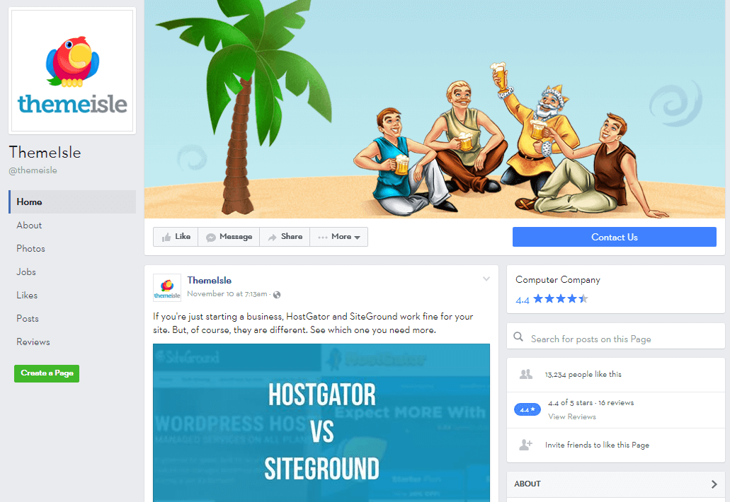 ThemeIsle's Facebook feed.