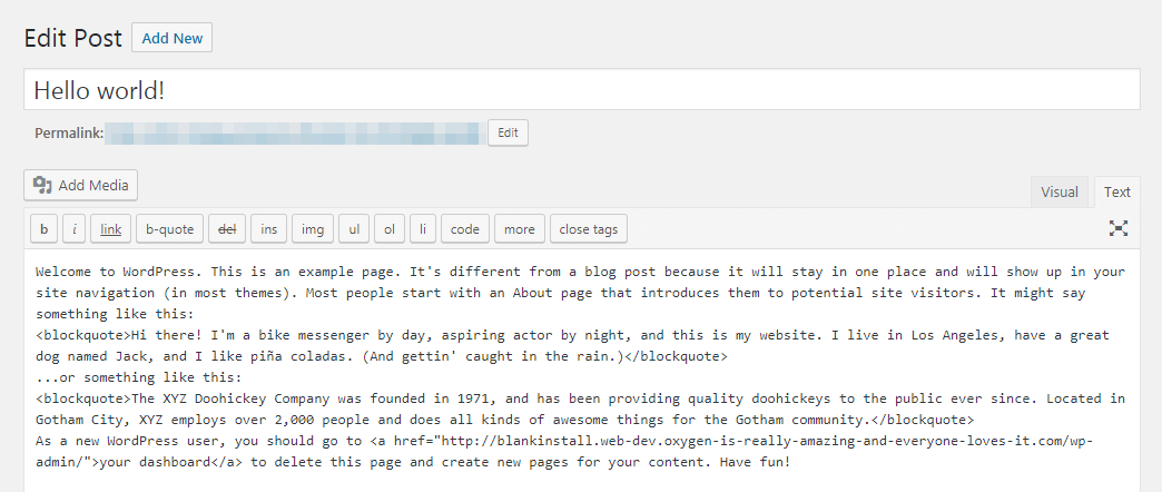 The Text view in the WordPress editor.