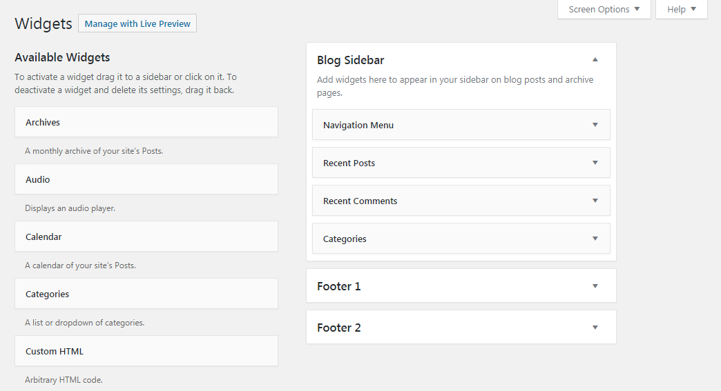 The Widgets tab in WordPress.