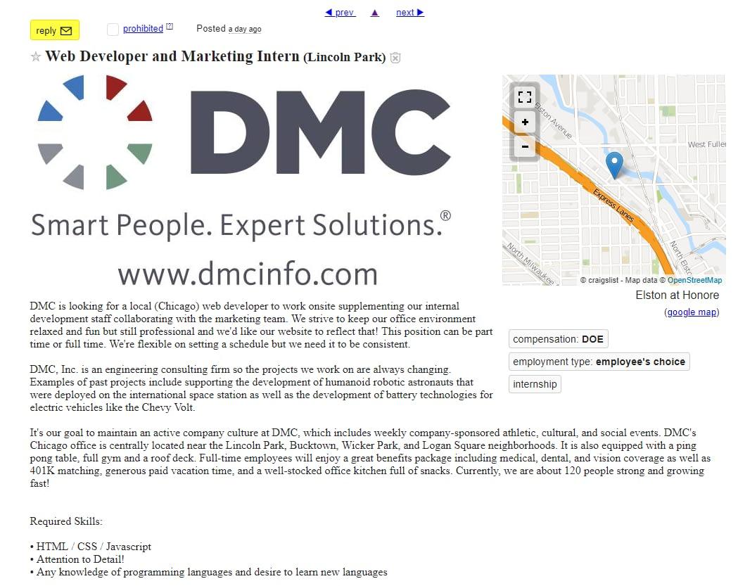 a web development craigslist post
