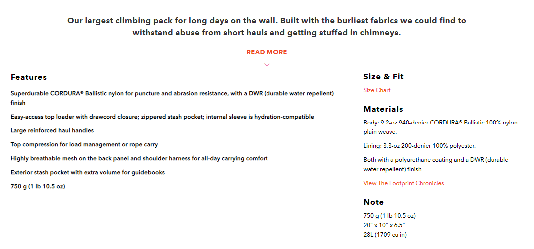 A product description for a backpack.