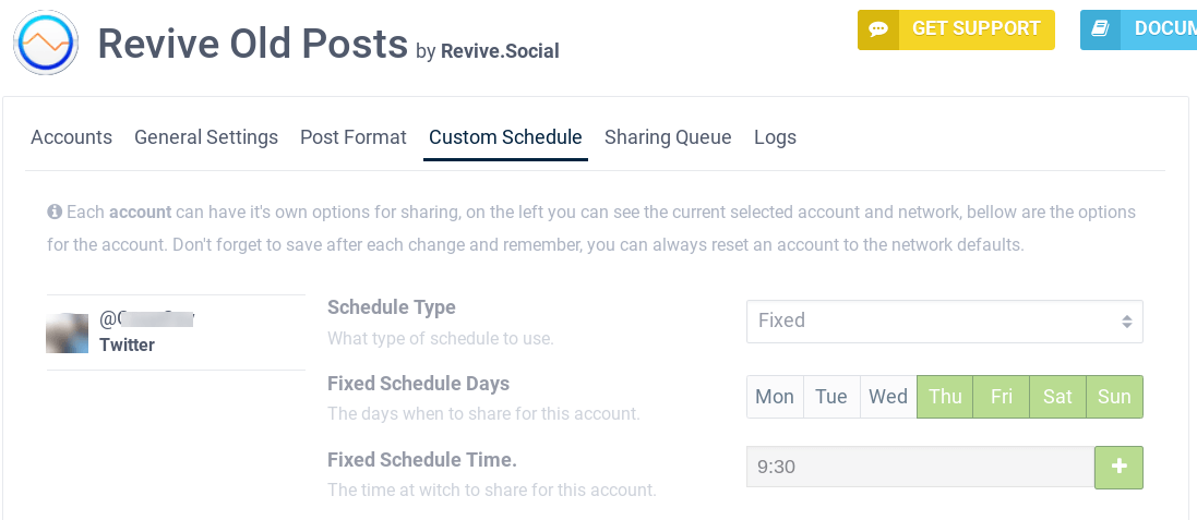 Custom Schedule options on Revive Old Posts plugin.