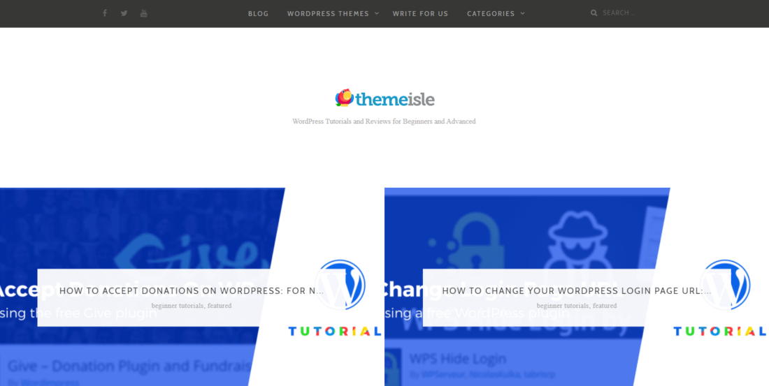 The ThemeIsle blog homepage