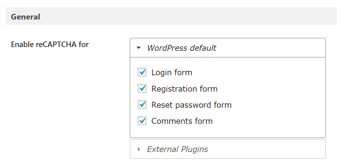 Selecting forms in the Google Captcha plugin.