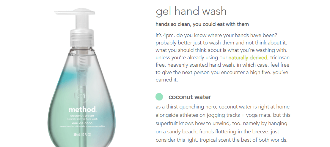 A product description for hand wash.
