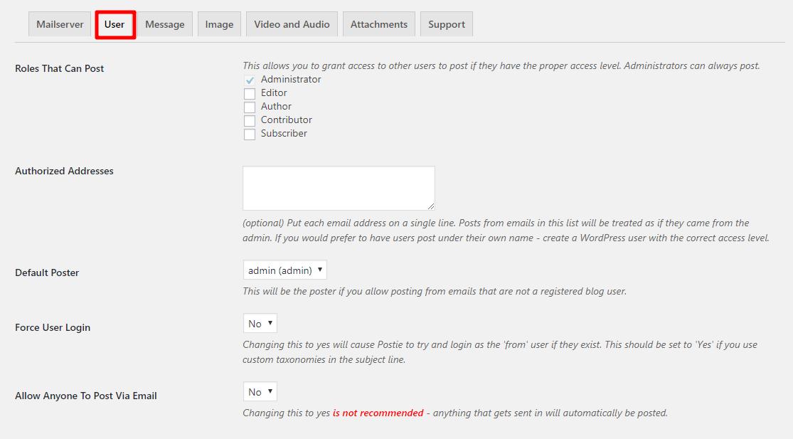postie authorized users
