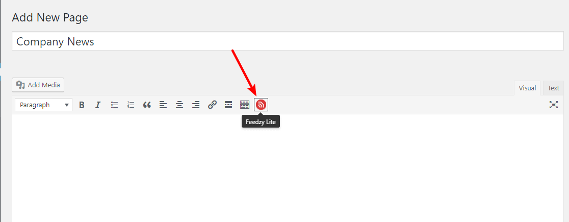 The Feedzy RSS Feeds button