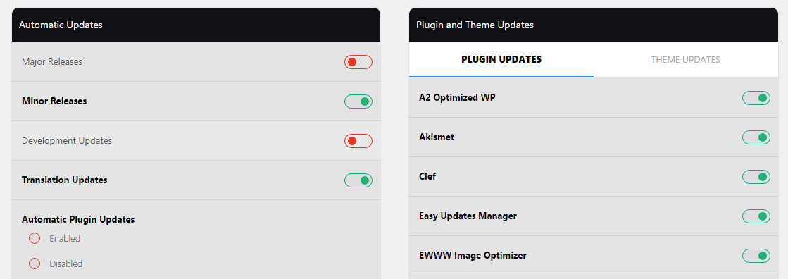 Easy Update Manager's update settings.