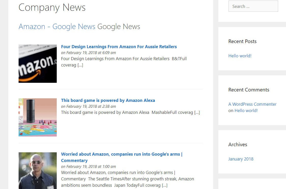 Example of the Feedzy RSS Feeds Lite output