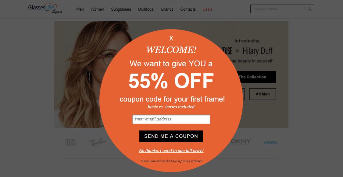A targeted pop-up on a glasses website.