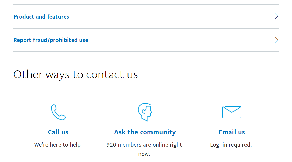 A contact page on PayPal.