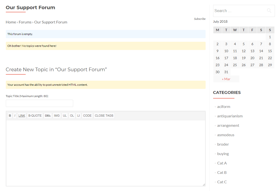 A simple forum in bbPress.
