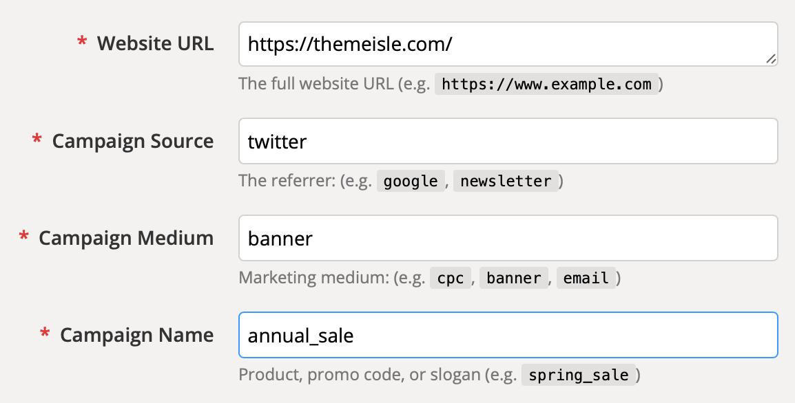 The UTM parameter fields.