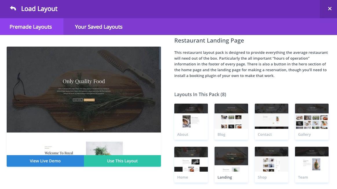 landing page select