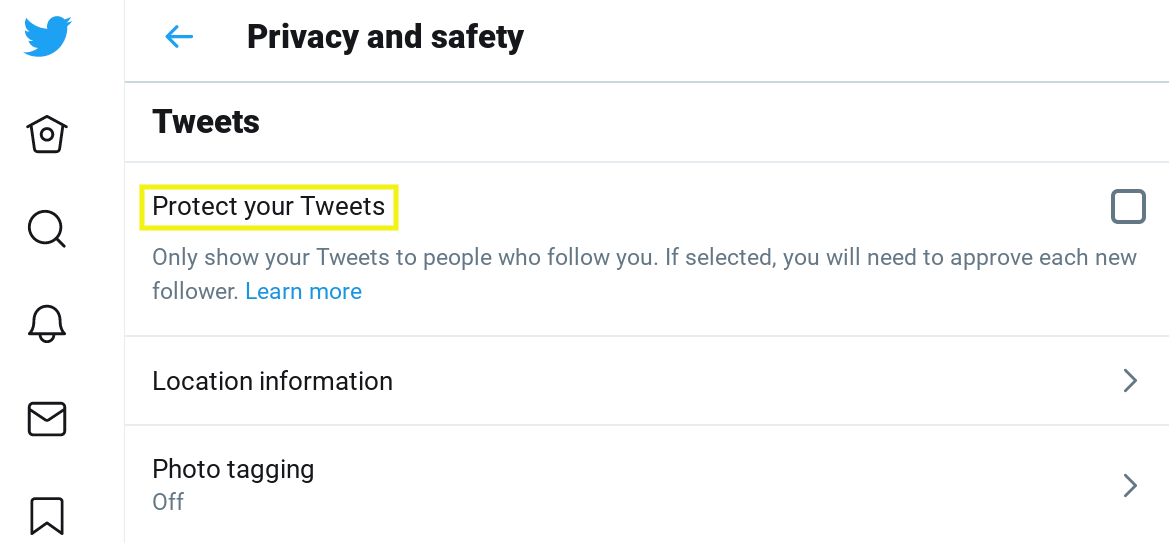 Privacy and safety settings page on Twitter.