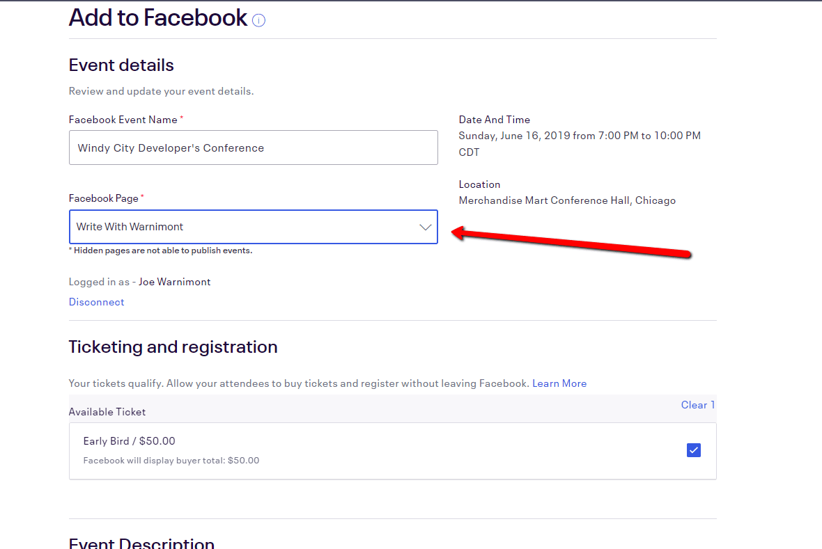 Link your Facebook page