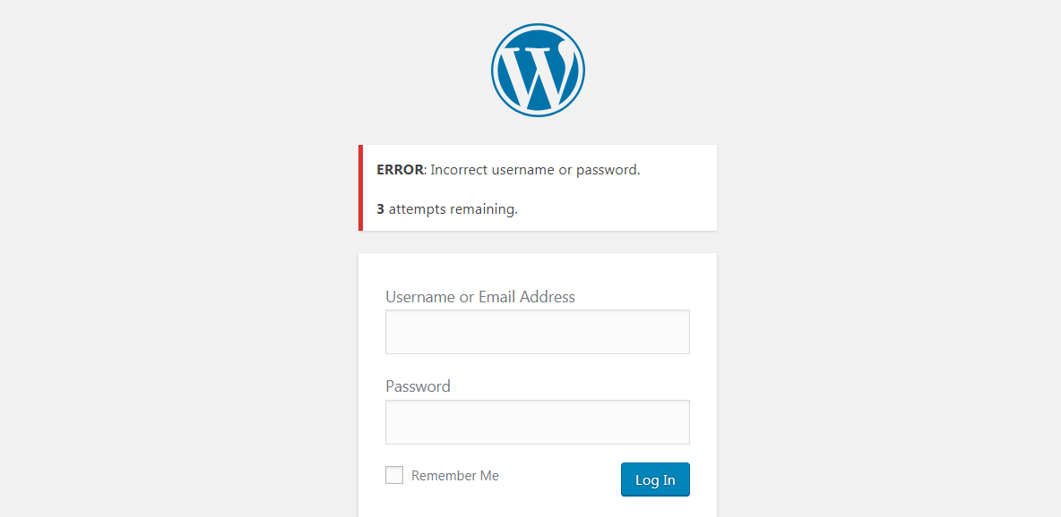 An example of a WordPress limit login attempts feature.