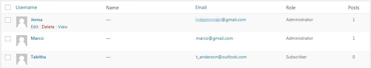 Deleting a user in WordPress.