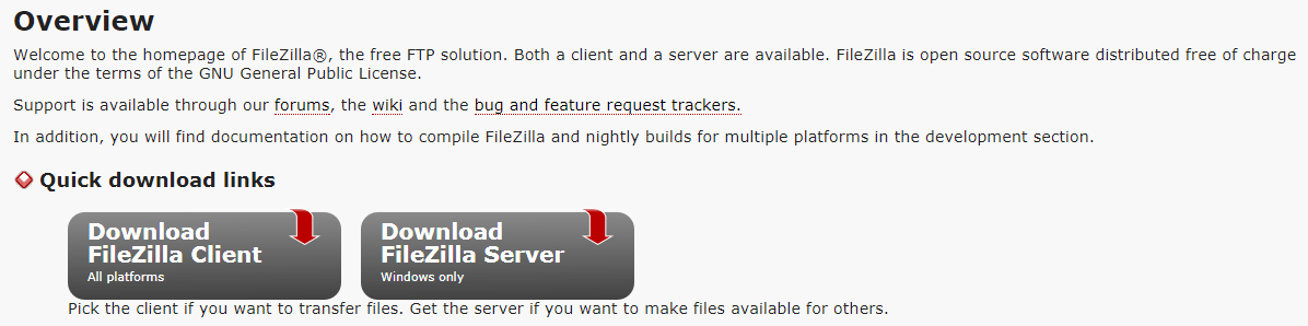 The FileZilla download button.
