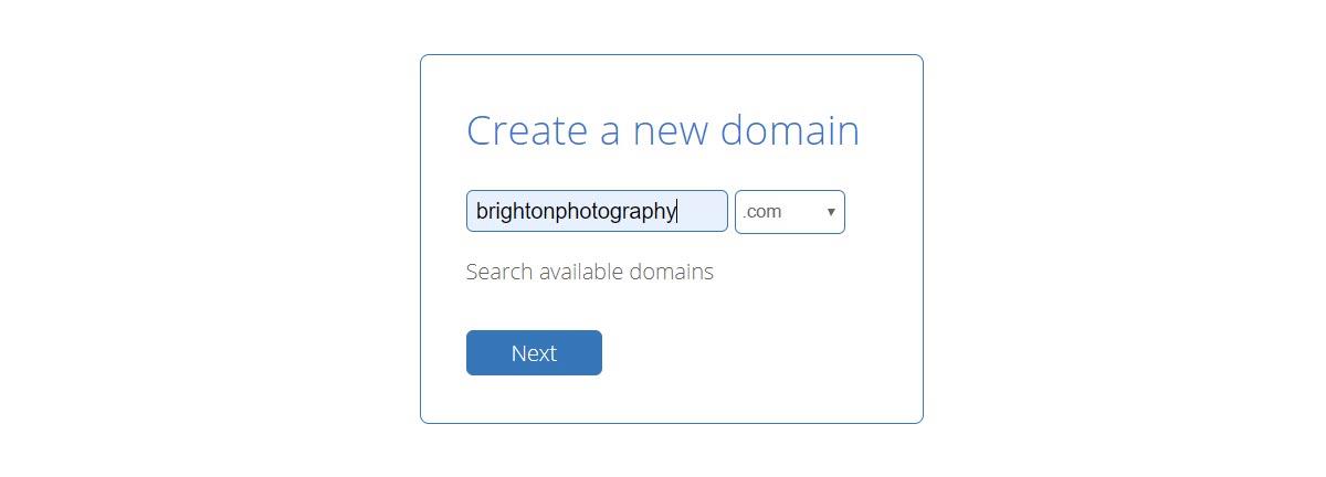 Create a Domain - Next