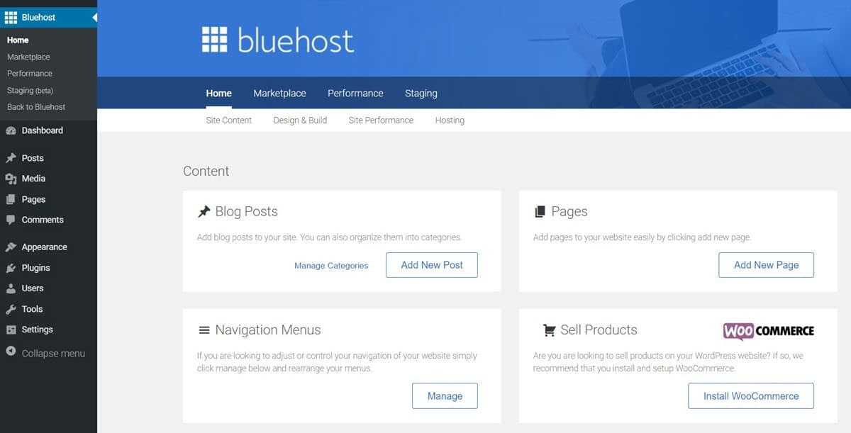 The Bluehost area in your WordPress dashboard