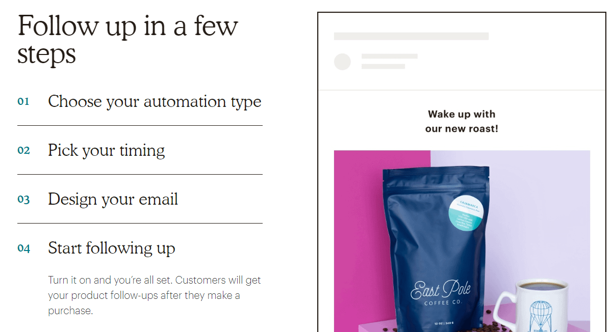 MailChimp's product follow-up emails.