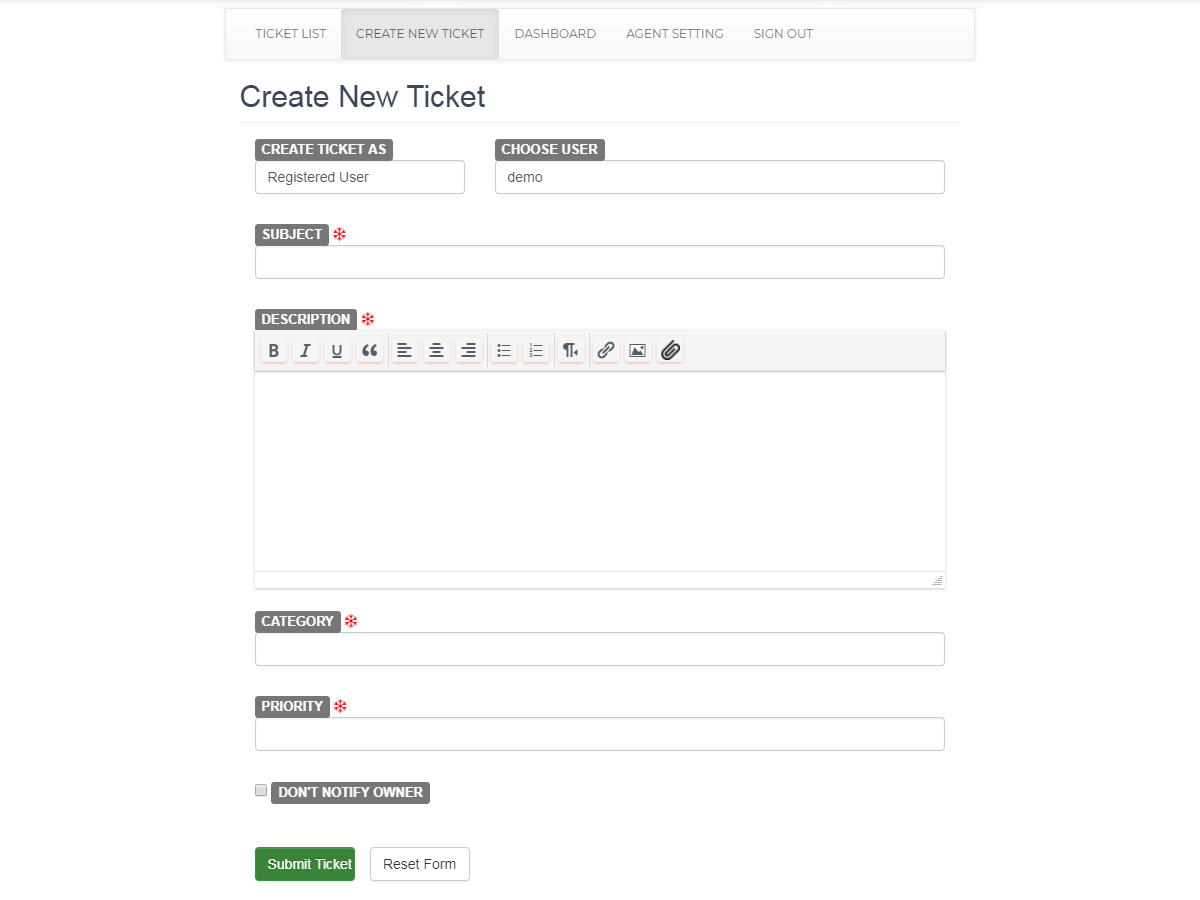 The WP Support Plus ticket form.
