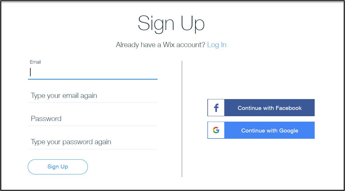 Make a website with Wix by signing up for an account