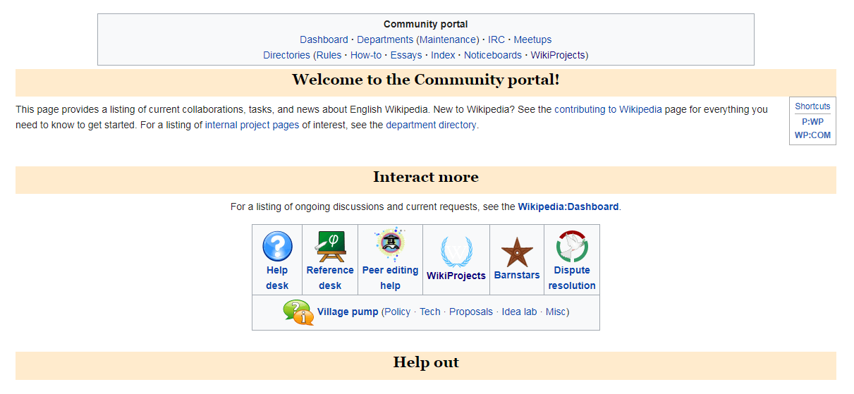 Community tools on Wikipedia.