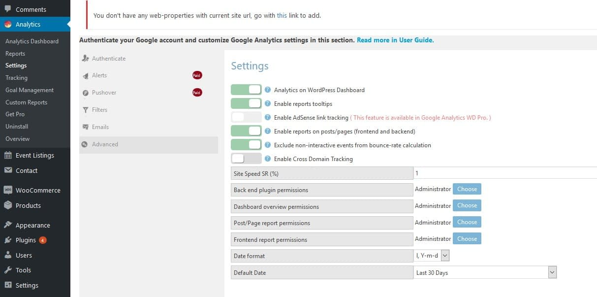 google analytics integration settings
