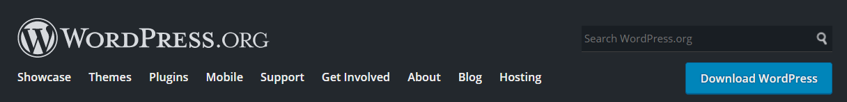 The WordPress.org website header.