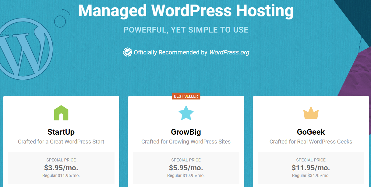SiteGround's WordPress hosting plans.