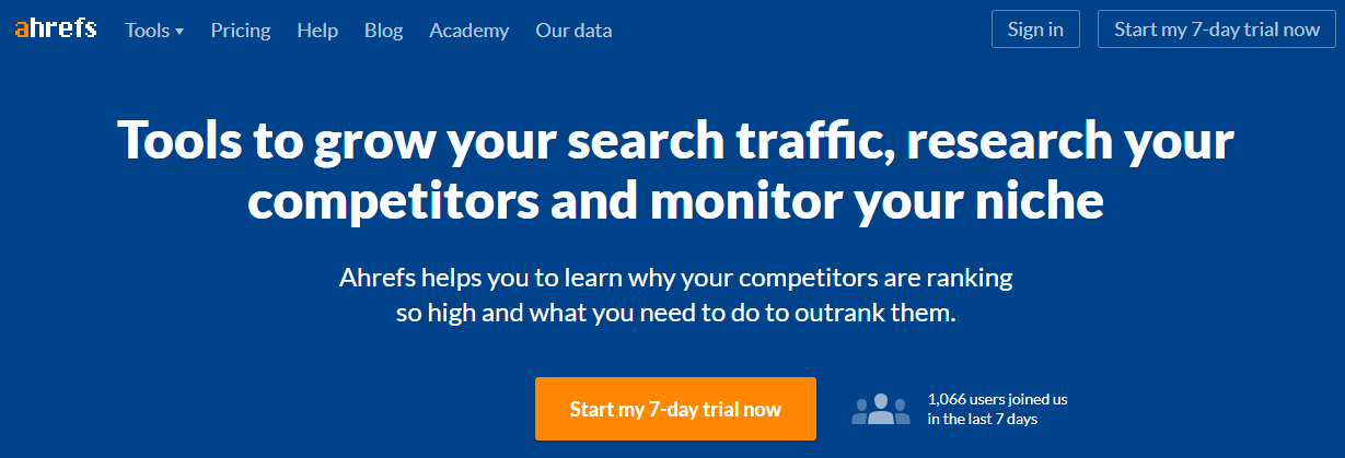 The Ahrefs website can help you update your website via competitor research