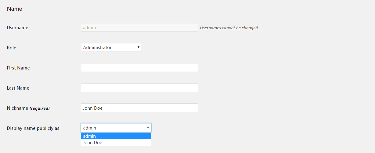 The WordPress display name settings.
